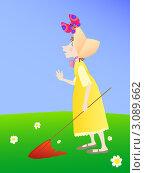 Девочка с сачком и бабочка. Стоковая иллюстрация, иллюстратор Стехновская Ольга / Фотобанк Лори