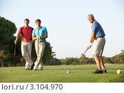 Купить «Трое мужчин на поле для гольфа», фото № 3104970, снято 30 августа 2010 г. (c) Monkey Business Images / Фотобанк Лори