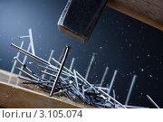 Купить «Забивание гвоздей молотком», фото № 3105074, снято 18 июня 2011 г. (c) Сергей Новиков / Фотобанк Лори