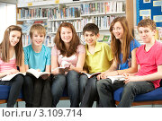 Купить «Веселые школьники сидят с книгами на коленях в школьной библиотеке», фото № 3109714, снято 19 февраля 2010 г. (c) Monkey Business Images / Фотобанк Лори