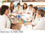 Купить «Дети с учительницей на уроке химии», фото № 3109754, снято 19 февраля 2010 г. (c) Monkey Business Images / Фотобанк Лори
