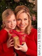 Купить «Мама с дочкой на фоне ёлки с красивой коробкой с подарком», фото № 3109950, снято 6 января 2011 г. (c) Monkey Business Images / Фотобанк Лори