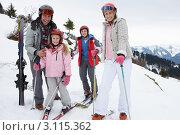 Купить «Портрет семьи на лыжах в снежных горах», фото № 3115362, снято 18 января 2011 г. (c) Monkey Business Images / Фотобанк Лори