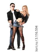 Купить «Стильная молодая пара на белом фоне», фото № 3116594, снято 3 февраля 2010 г. (c) Сергей Сухоруков / Фотобанк Лори