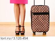 Купить «Женские ноги и дорожный чемодан», фото № 3120454, снято 7 марта 2011 г. (c) Николай Охитин / Фотобанк Лори