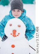 Купить «Мальчик и снеговик», фото № 3127498, снято 6 февраля 2000 г. (c) Володина Ольга / Фотобанк Лори