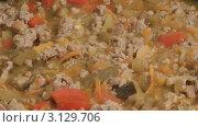 Купить «Тушеные овощи с мясным фаршем», видеоролик № 3129706, снято 10 января 2012 г. (c) Андрей Некрасов / Фотобанк Лори