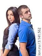 Молодая пара на белом фоне. Стоковое фото, фотограф Евгений Липский / Фотобанк Лори