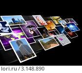 Купить «Коллаж из множества различных фотографий на чёрном фоне», иллюстрация № 3148890 (c) Sergey Nivens / Фотобанк Лори