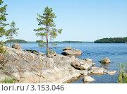 Скалистый берег озера. Летний пейзаж. Стоковое фото, фотограф Raulin / Фотобанк Лори