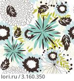 Купить «Красивый бесшовный фон с бирюзовыми цветами», иллюстрация № 3160350 (c) Павел Коновалов / Фотобанк Лори