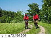 Купить «Мужчина и женщина катаются на велосипедах летним днем», фото № 3166306, снято 13 июня 2009 г. (c) CandyBox Images / Фотобанк Лори