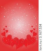Красный фон с сердцами и звездами ко дню святого Валентина. Стоковая иллюстрация, иллюстратор Александр Лычагин / Фотобанк Лори