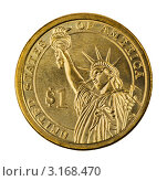 Купить «Золотая монета в один доллар изолированно на белом», фото № 3168470, снято 13 ноября 2011 г. (c) Антон Стариков / Фотобанк Лори