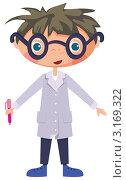 Купить «Молодой ученый в очках на белом фоне. Иллюстрация», иллюстрация № 3169322 (c) Рада Коваленко / Фотобанк Лори
