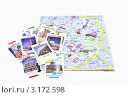 Карта Брюсселя и карточки с изображением достопримечательностей города. Редакционное фото, фотограф Илюхина Наталья / Фотобанк Лори