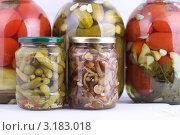 Купить «Маринованные огурцы, помидоры и грибы в стеклянных банках», эксклюзивное фото № 3183018, снято 22 августа 2019 г. (c) Яна Королёва / Фотобанк Лори