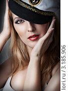 Купить «Портрет блондинки в капитанской кепке», фото № 3185906, снято 16 ноября 2019 г. (c) katalinks / Фотобанк Лори