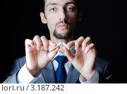 Купить «Серьезный бизнесмен ломает сигарету», фото № 3187242, снято 10 октября 2011 г. (c) Elnur / Фотобанк Лори