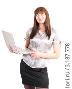 Девушка с ноутбуком. Стоковое фото, фотограф Ольга Богданова / Фотобанк Лори