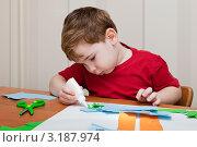 Купить «Мальчик увлеченно занимается аппликацией», эксклюзивное фото № 3187974, снято 22 января 2012 г. (c) Родион Власов / Фотобанк Лори