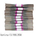 Купить «Стопка денег. Миллион российских рублей», фото № 3190358, снято 23 сентября 2011 г. (c) Михаил Коханчиков / Фотобанк Лори