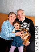Бабушка, дедушка, внучка и жучка. Стоковое фото, фотограф Куликова Вероника / Фотобанк Лори