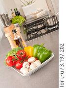 Купить «Блюдо с овощами и шампиньонами на столешнице на кухне», фото № 3197202, снято 21 октября 2009 г. (c) CandyBox Images / Фотобанк Лори
