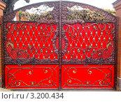 Красные кованые ворота. Стоковое фото, фотограф kraser / Фотобанк Лори