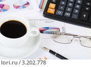 Купить «Рабочий стол бизнесмена - диаграммы, очки, калькулятор, перьевая ручка и чашечка кофе», фото № 3202778, снято 22 января 2012 г. (c) Воронин Владимир Сергеевич / Фотобанк Лори