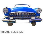 Купить «Синий открытый автомобиль изолированно на белом», фото № 3205722, снято 8 июля 2011 г. (c) Сергей Яковлев / Фотобанк Лори