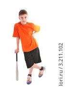 Подросток опирающийся на бейсбольную биту. Стоковое фото, фотограф Владимир Одегов / Фотобанк Лори
