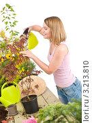 Купить «Блондинка опрыскивает растение из пульверизатора», фото № 3213810, снято 30 апреля 2010 г. (c) CandyBox Images / Фотобанк Лори