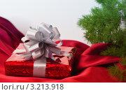 Купить «Красная подарочная коробка с серебристым бантом», фото № 3213918, снято 15 ноября 2011 г. (c) Инга Дудкина / Фотобанк Лори