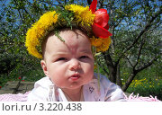 Маленький ребенок в венке из весенних цветов. Стоковое фото, фотограф бобух олег / Фотобанк Лори