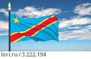 Купить «Флаг Конго, развевающийся на фоне голубого неба», видеоролик № 3222194, снято 5 февраля 2012 г. (c) Михаил / Фотобанк Лори