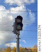 Купить «Светофор на фоне проводов и голубого неба. г. Москва.», фото № 3223274, снято 22 октября 2011 г. (c) Самойлова Екатерина / Фотобанк Лори