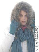 Купить «Девушка в куртке с капюшоном в зимний туманный день», фото № 3226034, снято 27 октября 2010 г. (c) CandyBox Images / Фотобанк Лори