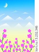 Цветы на желто-голубом фоне. Стоковая иллюстрация, иллюстратор Людмила Козлова / Фотобанк Лори