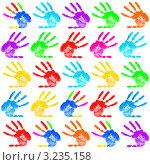 Купить «Цветные отпечатки ладоней на белом фоне», фото № 3235158, снято 23 марта 2019 г. (c) Elnur / Фотобанк Лори