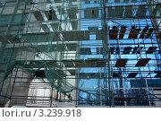 Купить «Реконструкция (ремонт фасада) здания. Леса и сетка.», фото № 3239918, снято 30 марта 2008 г. (c) Александр Куличенко / Фотобанк Лори