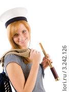 Купить «Портрет молодой женщины в морском стиле с подзорной трубой», фото № 3242126, снято 17 марта 2011 г. (c) CandyBox Images / Фотобанк Лори