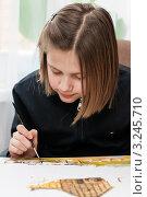 Купить «Девочка рисует за столом  кисточкой красками», эксклюзивное фото № 3245710, снято 4 февраля 2012 г. (c) Игорь Низов / Фотобанк Лори