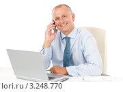 Купить «Улыбающийся бизнесмен говорит по мобильному телефону, сидя за рабочим столом», фото № 3248770, снято 31 мая 2011 г. (c) CandyBox Images / Фотобанк Лори