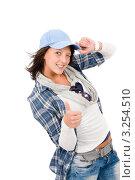 Купить «Стильная девушка-подросток показывает большой палец вверх», фото № 3254510, снято 21 сентября 2011 г. (c) CandyBox Images / Фотобанк Лори