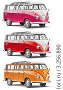 Купить «Микроавтобус Volkswagen T1 различных цветов», иллюстрация № 3256890 (c) Геннадий Поддубный / Фотобанк Лори