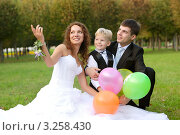 Купить «Веселые родители с сыном в парке», фото № 3258430, снято 18 сентября 2011 г. (c) Дмитрий Яковлев / Фотобанк Лори