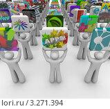 Купить «3D-человечки держат символические изображения приложений для смартфона», иллюстрация № 3271394 (c) Chris Lamphear / Фотобанк Лори
