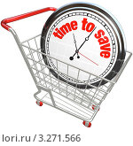 """Купить «Часы с надписью """"Время экономить"""" в магазинной тележке», иллюстрация № 3271566 (c) Chris Lamphear / Фотобанк Лори"""