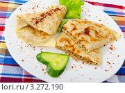 Купить «Блины с мясом, сервированные с салатом и свежим огурцом», фото № 3272190, снято 3 сентября 2011 г. (c) Elnur / Фотобанк Лори